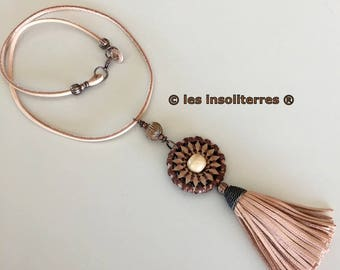 ethno-chic necklace gypsy leather wood and cotton with leather tassel