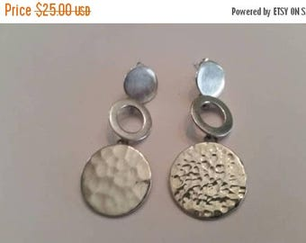 SALE Vintage Sterling Silver Earrings Dangle Hammered Mexican Disc 925