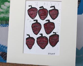 Watercolor Stawberries Art Print