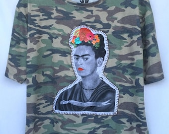 Frida Camouflage Hand Painted Top. Camouflage Frida Blouse. Frida Camouflage Hand Stitched Blouse. Gift Friendly.