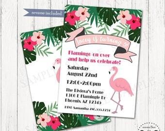 Flamingo Party Invitation Printable, Digital Flamingo Birthday Invite, DIY Tropical Party Invite, Summer Birthday Party, Flamingo Pool Party