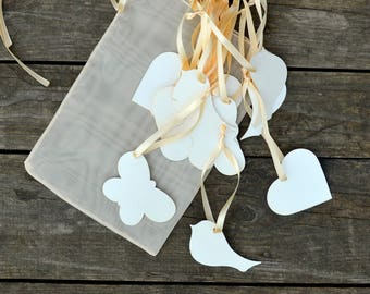 Wedding wishing Tags mix Set of 50 heart, bird, butterfly