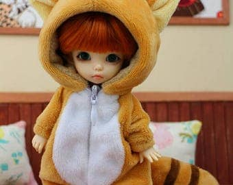 lati yellow pukifee bjd 1/8 outfit cute racoon outfit