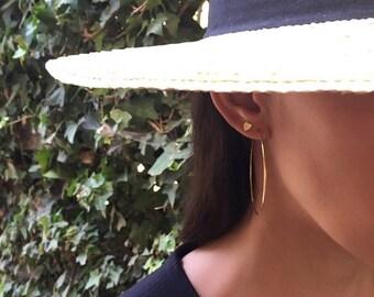 ON SALE 14k gold large hoop earrings, 14k solid gold