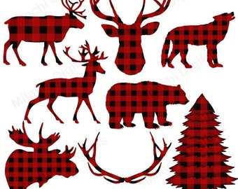 60% OFF SALE Buffalo plaid clipart, lumberjack clipart, vector graphics, animal clipart, digital clip art, commercial use - M445
