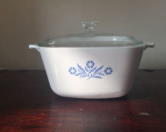 White Corning ware casserole dish with glass lid with cornflower blue design