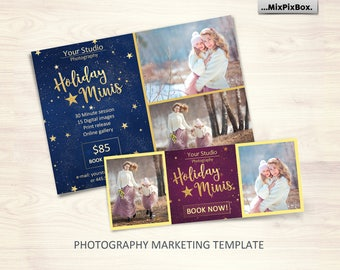 Holiday Mini Session Template - Photography Marketing Board - Christmas Minis - Photoshop Template