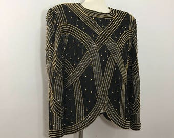 Glam Beaded Top by Laurence Kazar, Womens size XL, Gold and Black