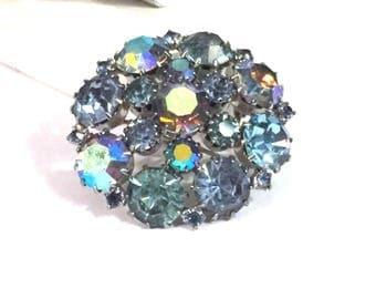 Karu Arke Brooch,Vintage Aurora Borealis Rhinestones,1940's Silver Tone Round Pin,Blue Rhinestone Brooch,Designer Signed