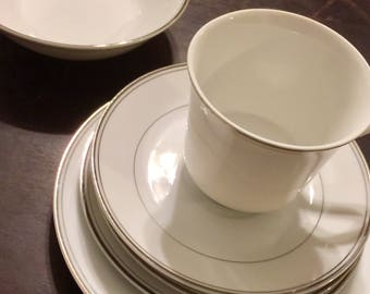 Simplicity by Fine China of Japan Set of 6 Pieces Vintage China Replacement China White with Platinum Trim