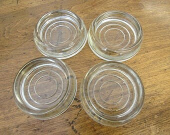 Vintage Clear Glass Table Sliders Floor Protectors