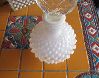 Vintage Clear and Opaque Hobnail Decanter and Lid Cologne Bottle