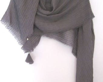 Gray Bohemian shawl