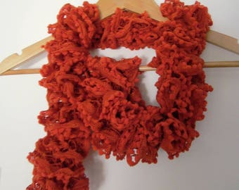 Bohemian scarf frilly and orange tassels