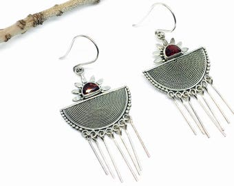 Garnet earrings set in Sterling silver 925. Genuine natural garnet stones perfectly matched. Satisfaction guaranteed