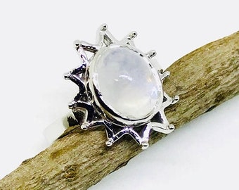 10% Rainbow moonstone ring set in Sterling silver(92.5). Size -6. Natural authentic rainbow moonstone .