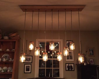 mason jar lighting fixture. 9 light mason jar chandelier rustic lighting wood vintage fixture