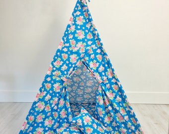 Kids Play Tent Teepee Handmade in Blue Antique Floral Designer Cotton Fabric. Comes With Padded Mat Base AND Two Pillows.