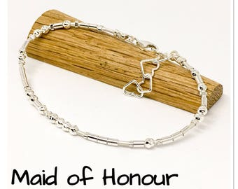 Maid of Honour - Morse Code bracelet - sterling silver and leather - Wedding ideas - Wedding jewellery - wedding favours