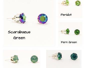 Swarovski stud earrings - Green earrings - 6mm stones - everyday earrings- dainty earrings - sterling silver - choice of colours