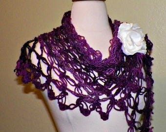 On Sale- Purple Shawl Triangle Crochet  Hippie Shades of Purple Bridal  Wedding Wrap Scarf Boho Summer With Brooch