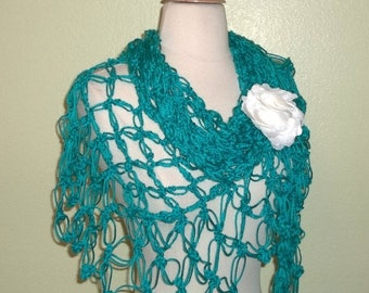 On Sale- Blue Shawl Triangle Crochet Lace Turquoise Blue Green Bridal Wedding Wrap Scarf Boho Summer Wrap With Brooch