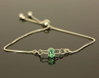 Natural Colombian Emerald in Sterling Silver Adjustable Bracelet