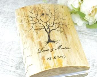 WEDDING GUEST BOOK Wood Natural  Rustic handmade journal Wood Handmade Love