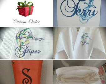 Custom Order Monogrammed Waffle Weave Robes & Cosmetic Bags, Personalized Cross Body Purse,  One Set of Six Items.