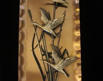 Copper Wall Plaque - 3D, depicting Canadian Geese in flight above & through reeds that grow in the wetlands. A great gift for the sportsman!