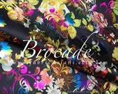 Black brocade colorful flowers fabric