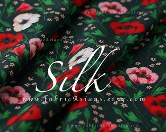Red Green Silk Crepe floral printed silk fabric by the yard