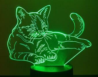 Lamp 3D design: cat lying down