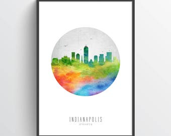 Indianapolis Skyline Poster, Indianapolis Cityscape, Indianapolis Art, Indianapolis Decor, Home Decor, Gift Idea, USININ20P