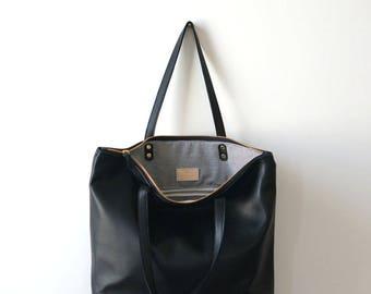 Black Leather Zip Tote
