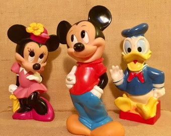 Vintage Mickey, Minnie and Donald Duck Rubber Piggy Banks