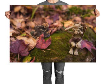 Hide and Seek Faery in this faery in purple forest of leaves and moss and all things magic!