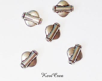 flat round silver metal tube beads 15 x
