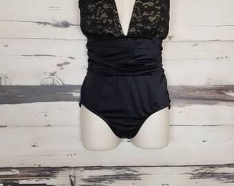 Vintage 1990s Black Lace Halter Open Back Bathing Suit Swim Suit Vintage Swimwear