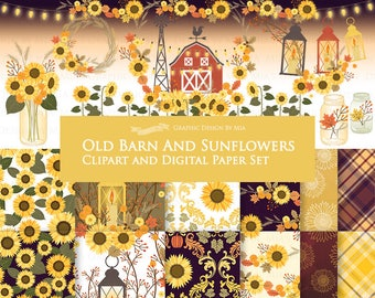 20% off Old Barn And Sunflowers / Autumn / Fall Clip Art + Digital Paper Set - Instant Download
