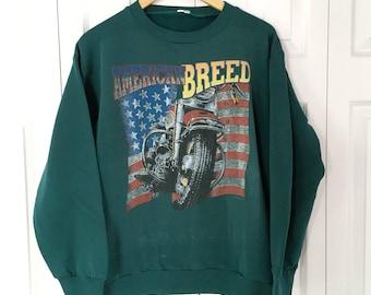Vintage Sweatshirt American Biker Motorcycle