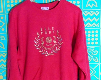 Rare..!!! ELLE SPORTS PARIS Gold Embroidery Voyage Deluxe Spell Out Big Logo Crewneck Pullover Sweater Jacket Sweatshirts