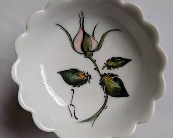 Pretty Limoges White Ceramic Ring Dish / Trinket Dish Rosebud Design