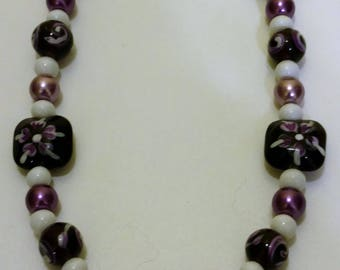 Mulberry Floral Beaded Necklace