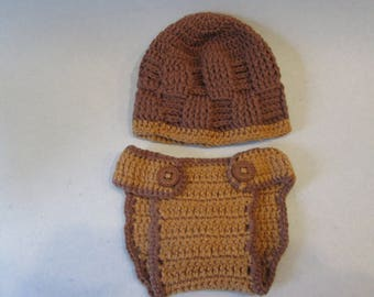 Crochet, Baby Hat, Baby Boy Diaper Cover & Beanie, Photo Props, Diaper Cover, Newborn Size, Baby Prop, Great Gift, Picture Props