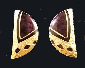 NO SHIPPING CHARGES U.S.A...Vintage Edgar Berebi Enamel Gold Tone Earrings