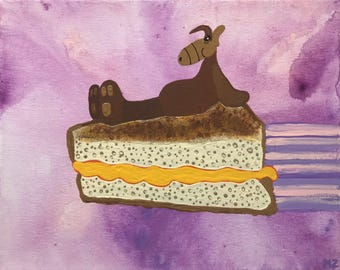 Cheesy Rider - Alf riding a grilled cheese sandwich through outer space - art print