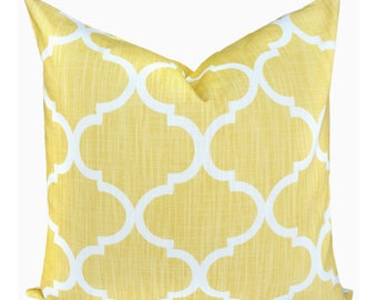 Yellow Decorative Pillow Cover.Moroccan Toss Pillow.Yellow Euro Sham Lumbar.Trellis Throw Pillow.Butter Yellow Accent Pillow