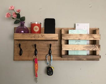 Entryway Mail Organizer | Key Hooks Coat Rack Catch All Leash Holder Rustic Modern Unique