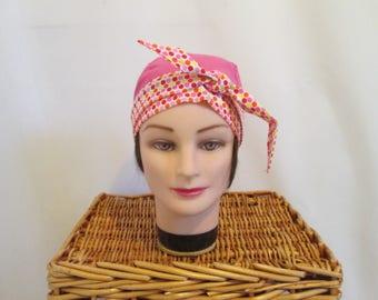 Smart headband scarf turban chemo, fuchsia with multicolor polka dots